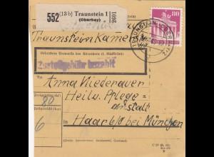 BiZone Paketkarte 1948: Traunstein nach Haar, Pflegeanstalt