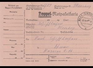 BiZone Paketkarte 1947: Doppelnotpaketkarte, Moosberg nach Haar