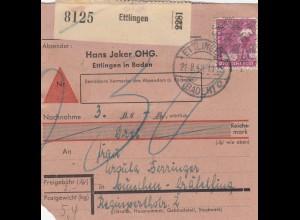 BiZone Paketkarte 1948: Ettlingen nach Gräfelfing, Nachnahme, Jeker OHG