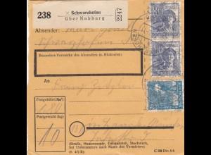 BiZone Paketkarte 1948: Schwarzhofen über Nabburg nach Haar
