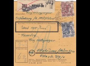 BiZone Paketkarte 1948: Schönberg nach Ottobrunn, Wertkarte