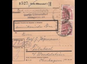 BiZone Paketkarte 1947: Berlin-Wilmersdorf nach Feilnbach, amerikanische Zone
