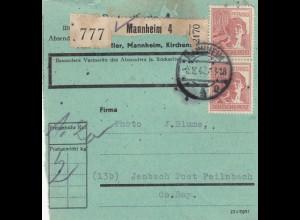 BiZone Paketkarte 1947: Mannheim nach Jenbach, seltenes Formular