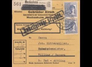 BiZone Paketkarte 1947: Meckesheim nach Willing, Selbstbucher, Gebr. Kirsch