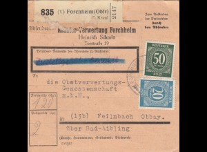 BiZone Paketkarte 1947: Forchheim nach Feilnbach, Selbstbucher