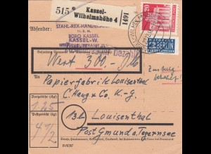BiZone Paketkarte 1948: Kassel-Wilhelmshöhe nach Louisenthal, Selbstbucher