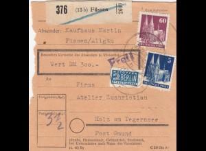 BiZone Paketkarte 1948: Füssen, Kaufhaus Martin, nach Holz, Notopfer