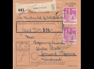 BiZone Paketkarte 1948: Hirschau nach Gmund, Wert 250 DM