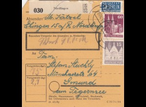 BiZone Paketkarte 1948: Ehingen / Nördlingen nach Gmund, Tegernsee