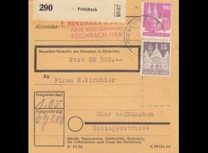 BiZone Paketkarte: Feilnbach, Lederwaren, nach Haar, Wert 500 DM
