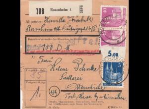 BiZone Paketkarte 1948: Rosenheim nach Ottendichl, Wertkarte 100 DM