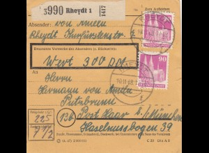 BiZone Paketkarte 1948: Rheydt nach Putzbrunn, Wertkarte 300 DM