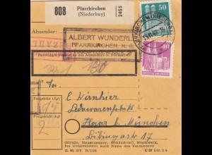 BiZone Paketkarte 1948: Pfarrkirchen nach Haar, Lederwarenfabrik, Wertkarte