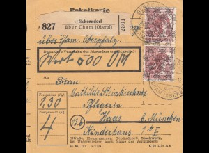 BiZone Paketkarte 1948: Schorndorf über Cham nach Haar, Pflegerin, Wertkarte