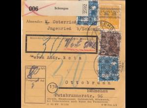 BiZone Paketkarte: Schongau/Ingenried nach Ottobrunn, Wertkarte, Nachgebühr