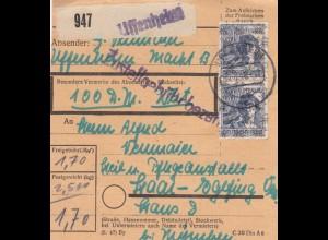 BiZone Paketkarte 1948: Uffenheim nach Haar, Heilanstalt, Wertkarte