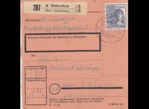 BiZone Paketkarte 1948: Heidelberg über Hinterstein nach Haar