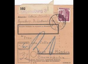 BiZone Paketkarte 1948: Regensburg nach Haar, Nachgebühr