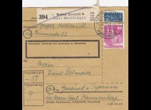 BiZone Paketkarte 1948: Stetten über Waiblingen nach Gmund am Tegernsee