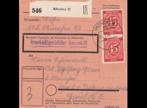 BiZone Paketkarte 1948: München nach Eglfing, Heil- und Pflegeanstalt