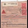 BiZone Paketkarte 1948: Weilheim Oberbay. nach Haar, Nachnahme, Heilanstalt