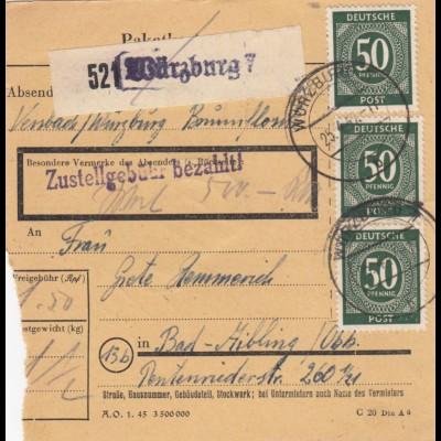 BiZone Paketkarte 1947: Würzburg nach Bad-Aibling, Wertkarte