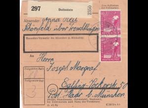 BiZone Paketkarte 1948: Schönfeld/Dollnstein nach Haar Eglfing