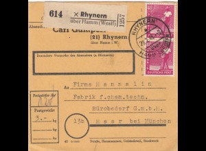BiZone Paketkarte 1948: Rhynern nach Haar, Bürobedarf, Selbstbucherkarte