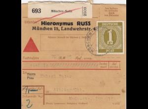 BiZone Paketkarte 1946: München-Solin nach Aibling, Nachnahme, Selbstbucher