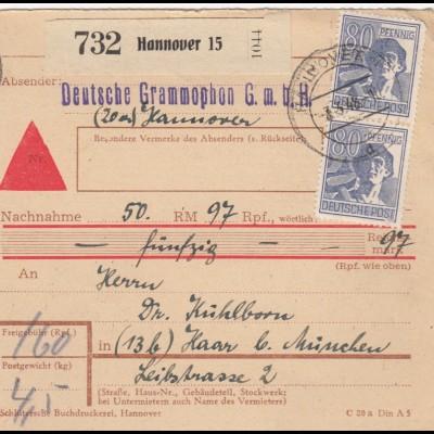 BiZone Paketkarte 1948: Hannover, Deutsche Grammophon, nach Haar, Nachnahme