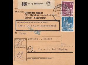 BiZone Paketkarte 1948: München nach Haar, Selbstbucher, Wertkarte 100 DM