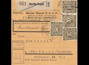 BiZone Paketkarte 1947: Berlin-Tegel nach Gmund, Selbstbucherkarte