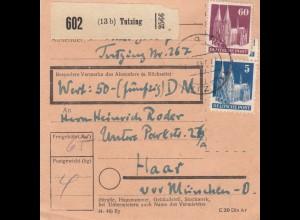 BiZone Paketkarte 1947: Tutzing nach Haar, Wertkarte