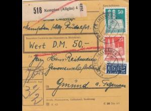 BiZone Paketkarte 1948: Kempten nach Gmund am Tegernsee, Wertkarte