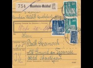 BiZone Paketkarte 1948: Mannheim Waldhof nach Gmund, Notopfer