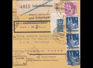 Paketkarte 1948: Tauberbischofsheim nach Post Gmund, Wertkarte, Notopfer Eckrand