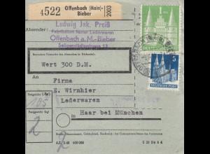 BiZone Paketkarte: Offenbach-Bieber nach Haar, Wertkarte, seltenes Formular