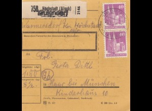 BiZone Paketkarte 1948: Warmersdorf Höchstadt nach Haar, Kinderhaus