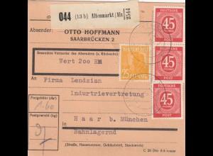 BiZone Paketkarte 1948: Altenmarkt nach Haar, Bahnlag., Selbstbucher, Wertkarte