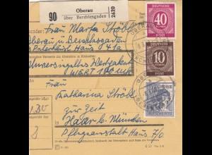 BiZone Paketkarte 1948: Oberau nach Haar, Wertkarte