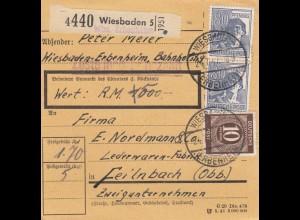 BiZone Paketkarte 1947: Wiesbaden-Erbenheim nach Feilnbach, Wertkarte, Ledewaren