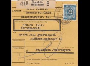 BiZone Paketkarte 1947: Remscheid-Vieringhausen nach Feilnbach, Wertkarte