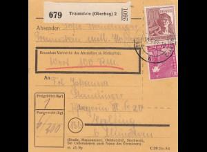 BiZone Paketkarte 1948: Traunstein nach Eglfing, Wert 100 RM