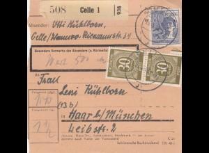 BiZone Paketkarte 1948: Celle 1 nach Haar bei München, Wertkarte