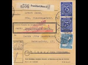 BiZone Paketkarte 1948: Frankfurt nach Haar, Wertkarte 200 Mark