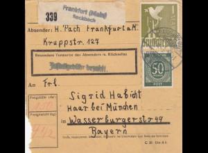 BiZone Paketkarte 1947: Frankfurt Seckbach nach Haar