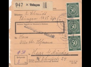 BiZone Paketkarte 1948: Thüngen nach Haar b. München