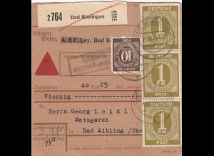 BiZone Paketkarte 1946: Bad Kissingen nach Bad Aibling, Nachnahme