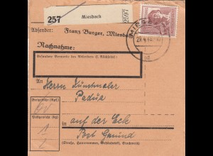 BiZone Paketkarte 1948: Miesbach nach Post Gmund, Selbstbucher