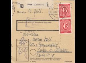 BiZone Paketkarte 1947: Prien Chiemsee nach Haar, Pflegeanstalt